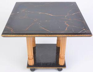 чёрный журнальный стол на 4 ногах из керамогранита - общий вид