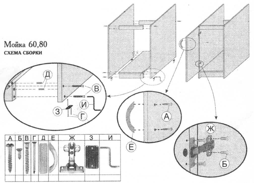 схема сборки мебели кухни