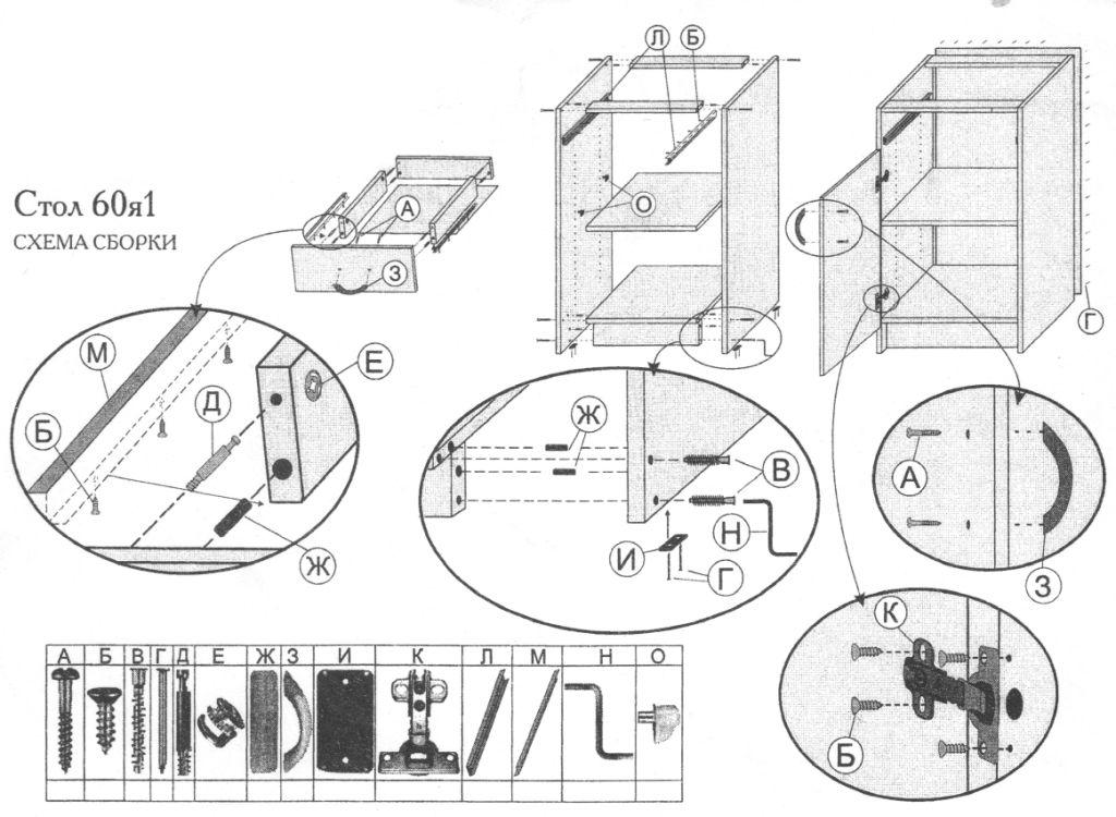 схема сборки кухонной
