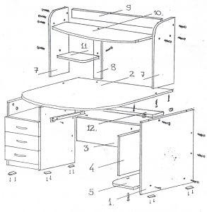 Схема сборки компьютерного стола